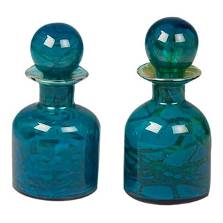 A Pair of Vintage Hand Blown Blue and Green Glass Decanters circa 1970