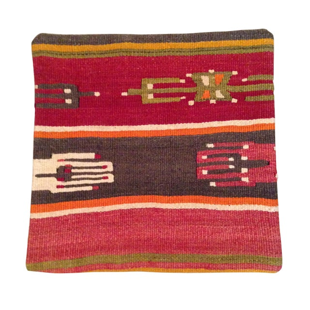 Image of Vintage Striped Red Kilim Pillow