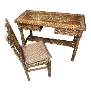 Moroccan Bone Inlaid Desk & Chair Set - 2 Pc.
