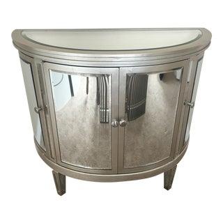Mirrored Four-Door Demilune Cabinet