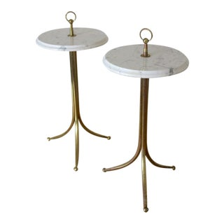 1950s Cesare Lacca Brass and Carrera Marble Drinks Coffee Occasional Tables - a Pair