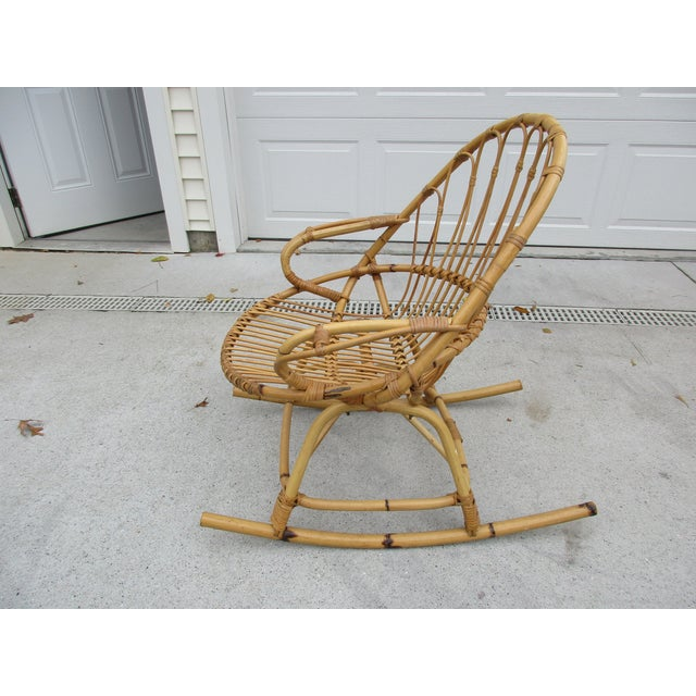 Bamboo and Wicker Rocking Chair - Image 5 of 8