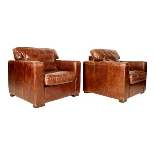 Mid-Century Leather Lounge Chairs - A Pair