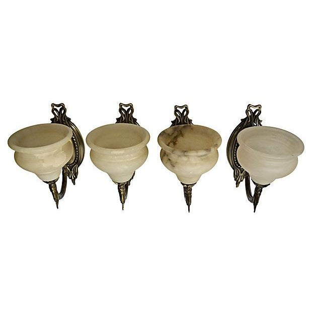 German Alabaster Sconces - Set of 4 - Image 5 of 6