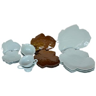 Blue & Brown Leaf Dinnerware - Set of 16