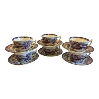 Purple Transferware Cups & Saucers - Set of 6