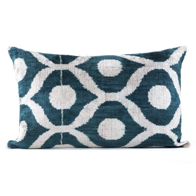 Green Silk Velvet Ikat Pillow - Image 3 of 3