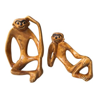 Mid-Century Whimsical Ceramic Monkeys- A Pair