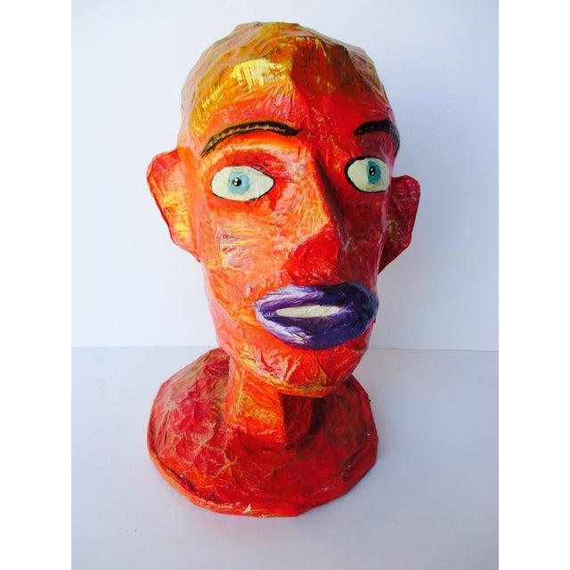 Folk art paper mache head form sculptures pair chairish for Papier mache art for sale
