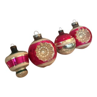 Vintage Pink & Silver Glass Ornaments - Set of 4
