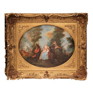 19th Century French Oil on Canvas Bucolic Scene in Carved Gilt Frame