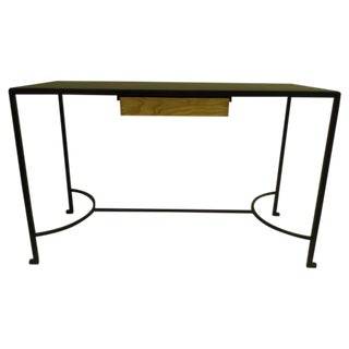 French Iron and Leather Desk / Console Attributed to Marc Duplantier
