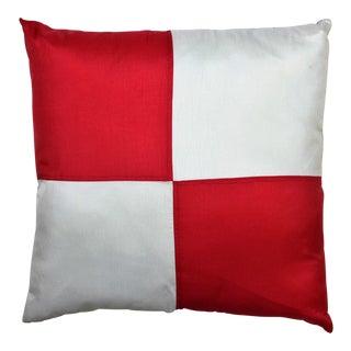 Red & White Burgee Flag Silk Pillow