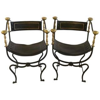 Jansen Curule Savonarola Chairs- A Pair