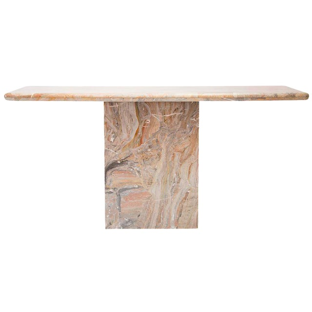 Variegated Marble Console Table - Image 1 of 10