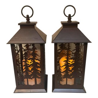 Metal & Glass Forest Silhouette Lanterns - A Pair