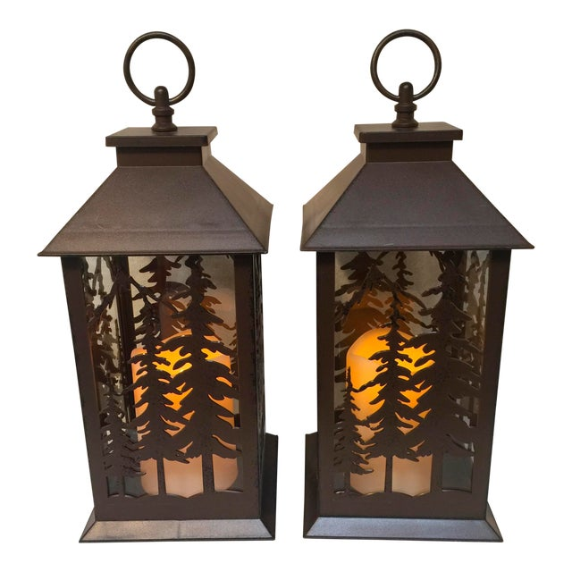 Image of Metal & Glass Forest Silhouette Lanterns - A Pair
