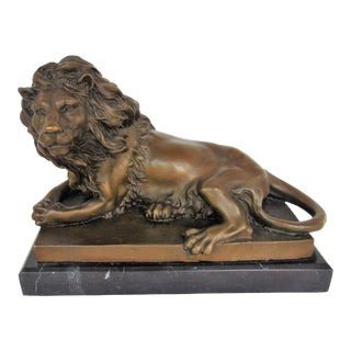 Bronze Reclining Lion on Marble Base