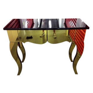 Black & Gold Beveled Mirror Console Table