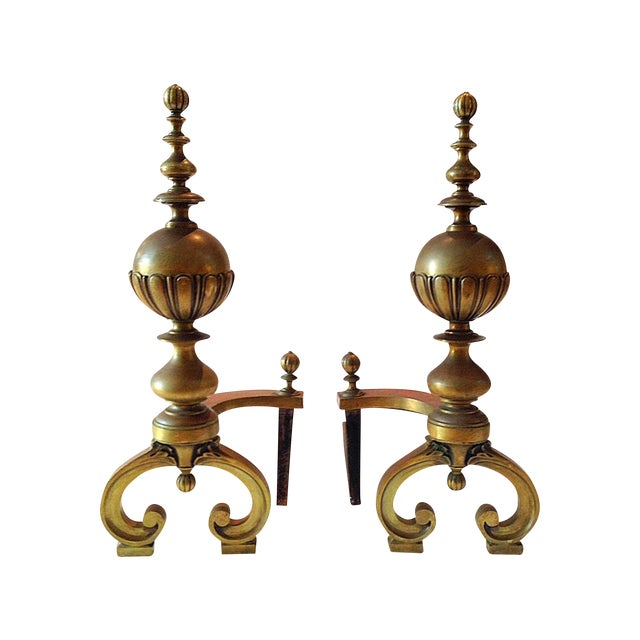 Large 19th Century Brass Andiorns - A Pair - Image 1 of 9