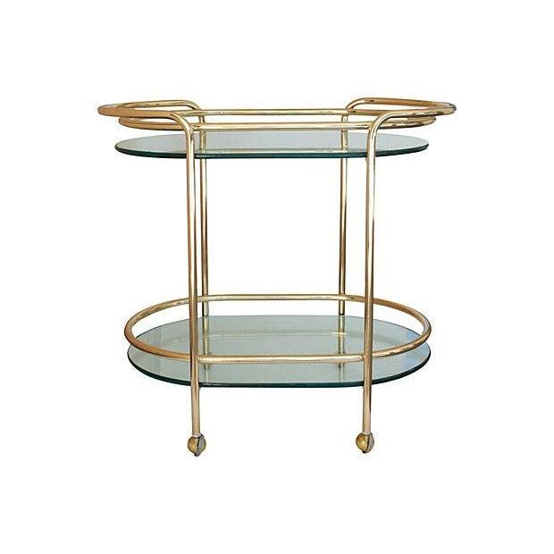 mid century modern brass bar cart chairish. Black Bedroom Furniture Sets. Home Design Ideas