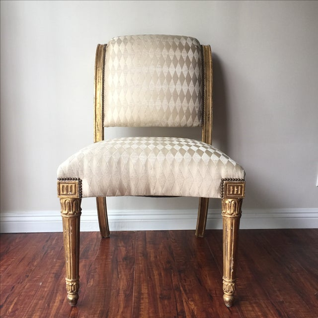 Vintage Neoclassical Style Gilt Side Chair - Image 2 of 10