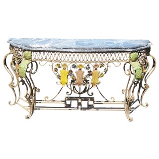 Italian Style Wrought Iron Console Table