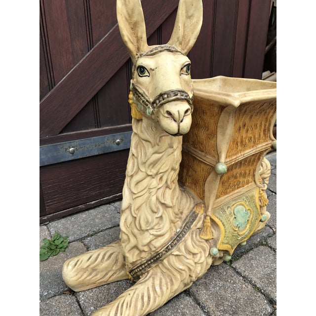 Vintage Palm Beach Hollywood Regency Resin Llama Planter - Image 4 of 10