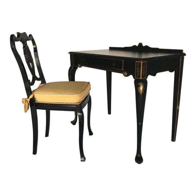 French Chinoiserie Style Writing Desk and Chair Set - Image 1 of 8