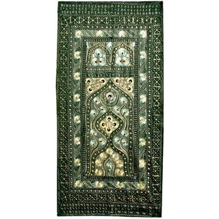 Persian Silk Embroidered Suzani Mihrab - 4′ × 8′