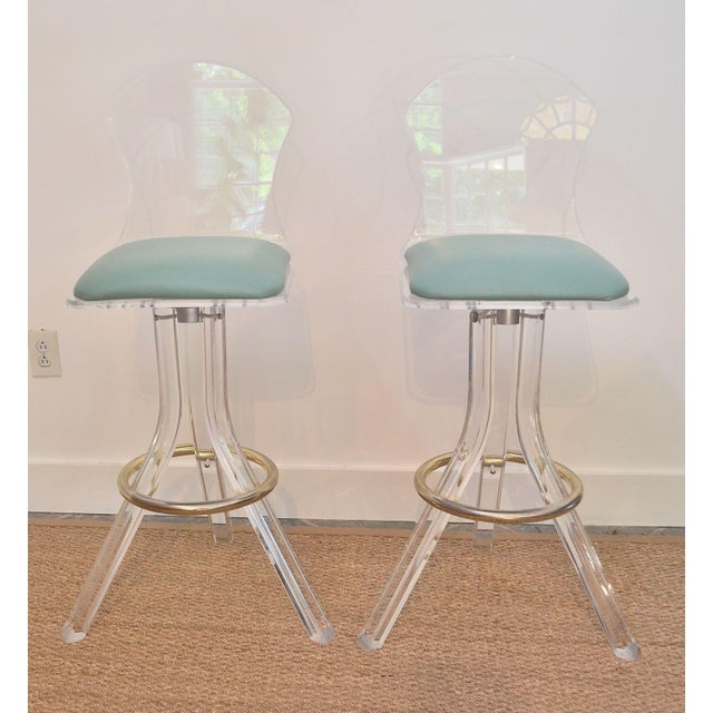 Vintage Lucite Swivel Bar Stools - a Pair - Image 2 of 6