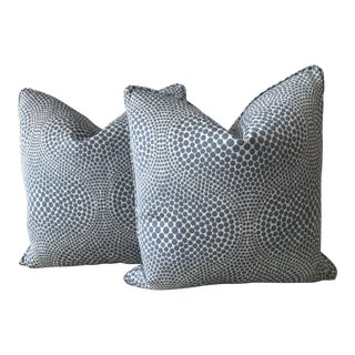 Blue & Cream Contemporary Dot Pillows - A Pair