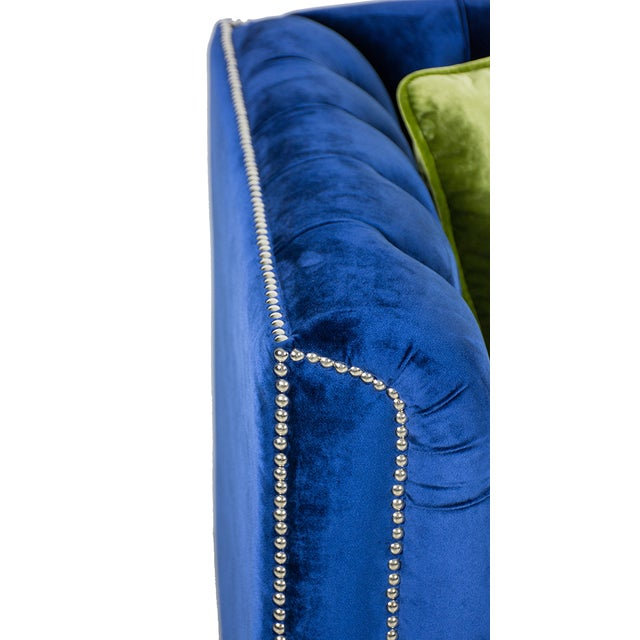 Pasargad Victoria Collecion Royal Blue Velvet Sofa - Image 6 of 7