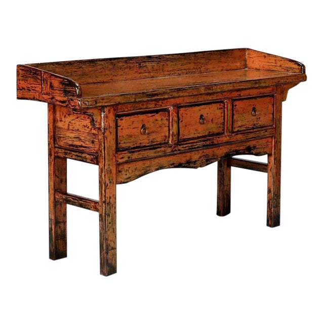 Chinese Painted and Lacquered Three-Drawer Console Table - Image 1 of 11