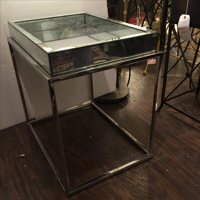 Image of Antique Mirror & Chrome Occasional Table