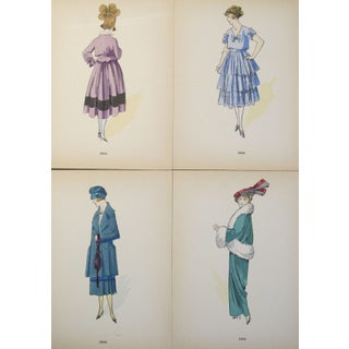 Original 1916 French Fashion Plates - Set of 4