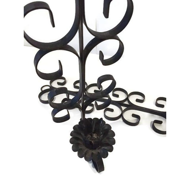 Midcentury Metal Scroll Wall Candle Holders - Pair - Image 3 of 5