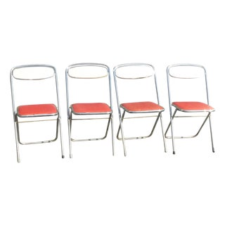 Retro Red & White Chrome Folding Chairs - 4