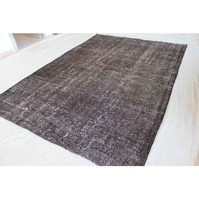 Image of Vintage Black-Gray Turkish Overydyed Rug