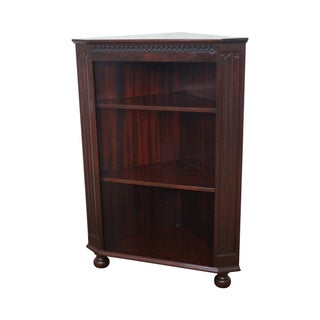 Mahogany Corner Open Bookcase with Turned Feet