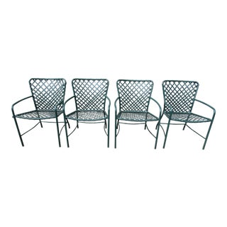Vintage Brown Jordan Mid-Century Green Tamiami Outdoor Chairs - Set of 4