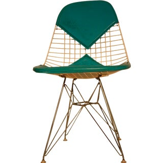 Eames Wire Chair with Teal Bikini Pad