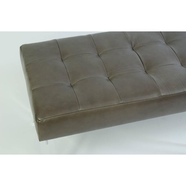 Lucite Prism Bench in Gunmetal Leather with Blind Tufting by Montage - Image 7 of 8