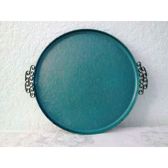 Midcentury Kyes Moiré Caribbean Green Tray - Image 2 of 5