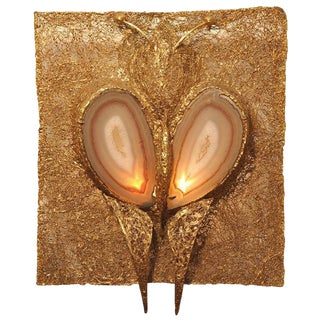 """Illuminated Wall Sculpture """"Luna"""" Polished Gold Plate with Agate"""
