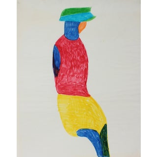"""""""Bright Abstracted Figure"""" Original Drawing by Dellard Cassity"""