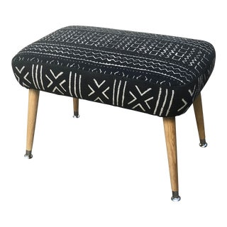 Mid-Century Modern Black and White Mudcloth Uphlstered Ottoman
