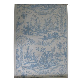 Schumacher Vintage French Toile Wallpaper 'La Liberte Americane' in Blue