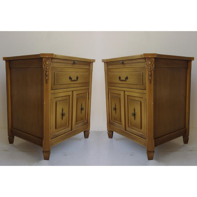Image of Midcentury Modern Walnut Nightstands - A Pair