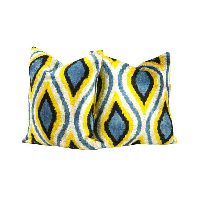 Peacock Pattern Silk Ikat Velvet Pillow - Pair - Image 1 of 3